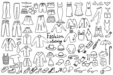 dress sketch: fashion and clothing icons vector collection Illustration
