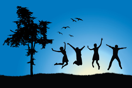 happiness people silhouette on the sunset: four friends jumping on field near tree, blue sky