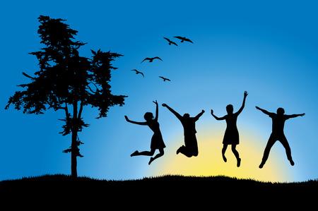 lleno: cuatro amigos que saltan en el campo cerca de �rboles, el cielo azul