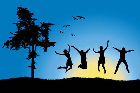 happy young people: four friends jumping on field near tree, blue sky