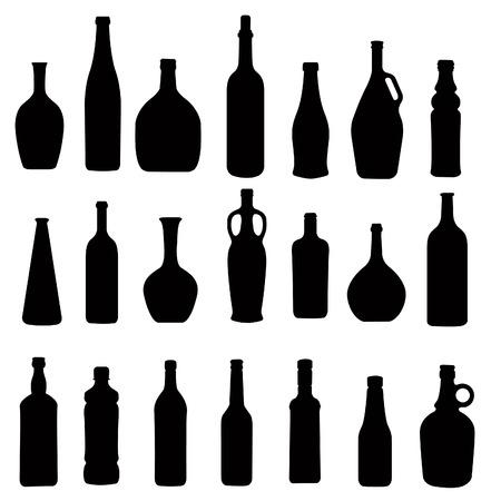 botella de licor: muchas botellas diferentes, vector de la silueta