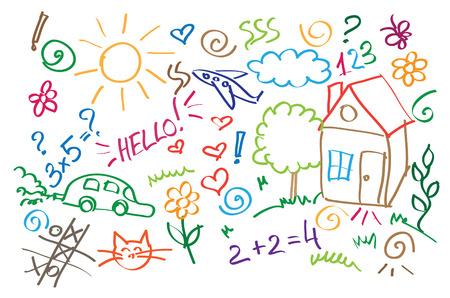 niños dibujando: símbolos multicolores niños de dibujo del vector del estilo Vectores