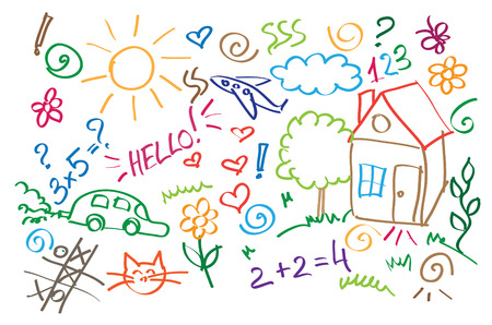 dessin enfants: symboles multicolores enfants, dessin style vecteur