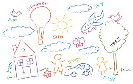 children drawing multicolored symbols vector set Illustration