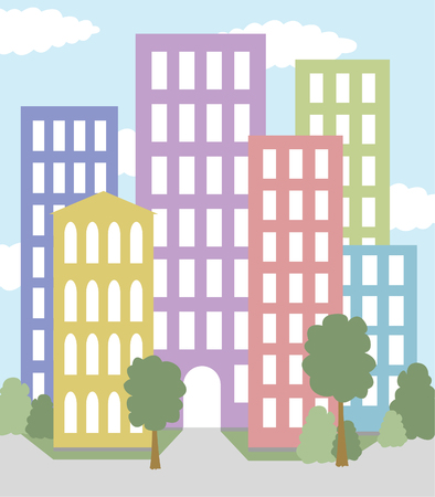 city with multicolored buildings vector Illustration
