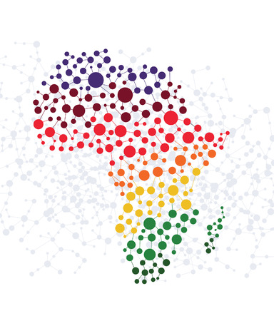 africa continent: Africa abstract background with dot connection vector