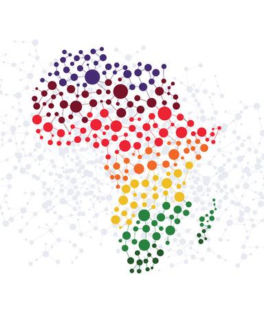 mapa de africa: �frica resumen de antecedentes con puntos vector de conexi�n Vectores