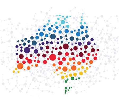 australia map: Australia abstract background with dot connection vector