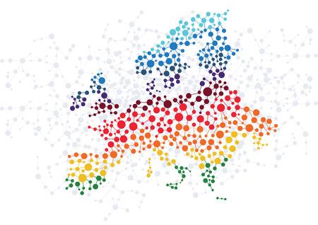 mapa europa: Europa resumen de antecedentes con puntos vector de conexi�n