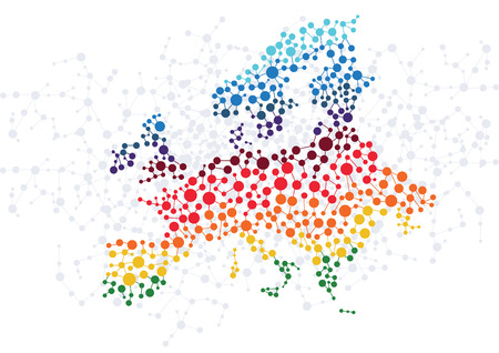 Europe abstract background with dot connection vector Illustration