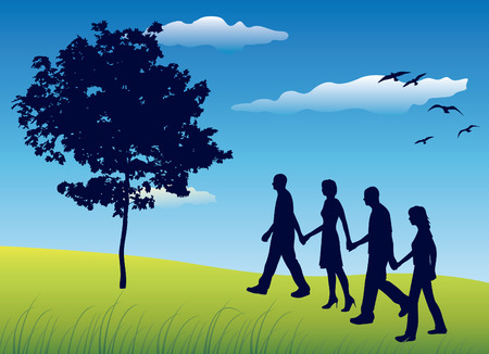 grass silhouette: four friends holding for hands and walking on field near tree, blue sky, vector Illustration