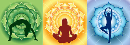svadhisthana: silhouette of yoga girls on bright mandala backgrounds, vector