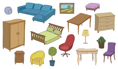 bookstand: furniture and decoration color vector set