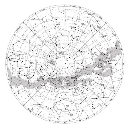 별과 별자리 벡터의 이름을 가진 남반구의 높은 자세한 하늘지도