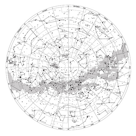 High detailed sky map of Southern hemisphere with names of stars and constellations vector Imagens - 29384952