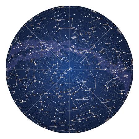 costellazioni: Alta dettagliata mappa del cielo dell'emisfero settentrionale con vettore di nomi di stelle e costellazioni colorato