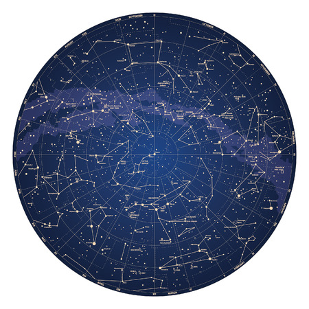 spyglass: High detailed sky map of Northern hemisphere with names of stars and constellations colored vector Illustration