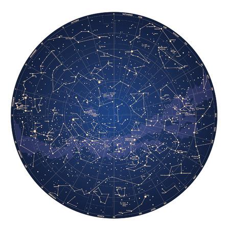 constellations: Haute carte d�taill�e ciel de l'h�misph�re sud avec les noms des �toiles et des constellations vecteur de couleur Illustration