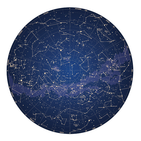 Hohe detaillierte Himmelskarte des südlichen Halbkugel mit Namen von Sternen und Sternbildern farbige Vektor