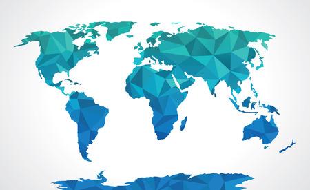 poligonos: Azul poligonal mapa del mundo