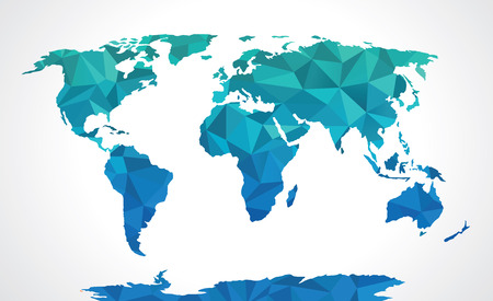 world map blue: Blue polygonal world map