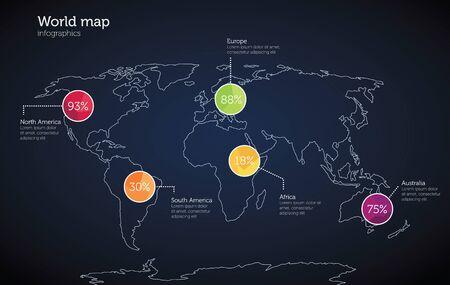 population growth: World map infographics template  Illustration