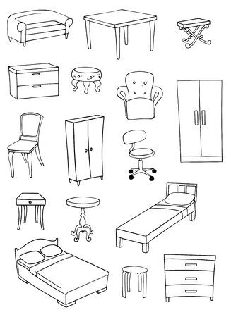 divan: furniture set Illustration