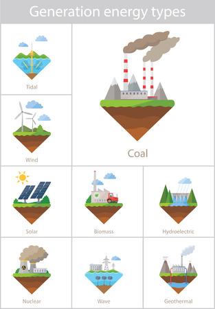 biomasa: Conjunto del icono del vector de la central eléctrica