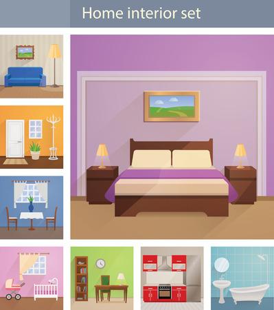 Home interiors vector set Illustration