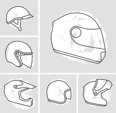 face off: Motorcycle helmets vector set