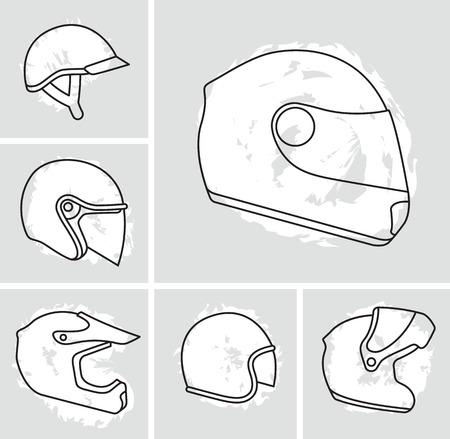 Motorcycle helmets vector set