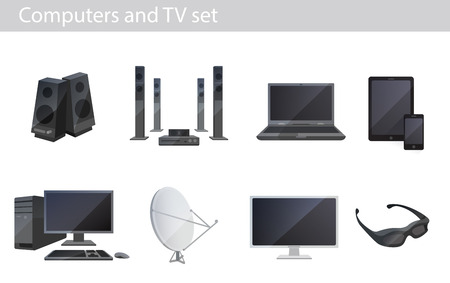 Tv and computers electronics vector set Vector