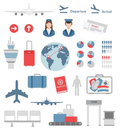 평면 공항 인포 그래픽 요소 및 아이콘