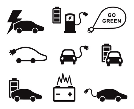 electric car: Electric car icons set