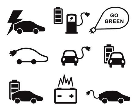 cables electricos: Iconos del coche eléctrico establecen Vectores