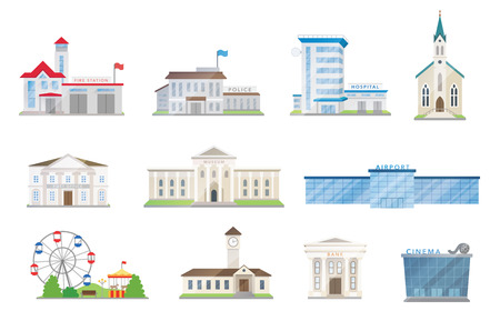 Public city buildings set