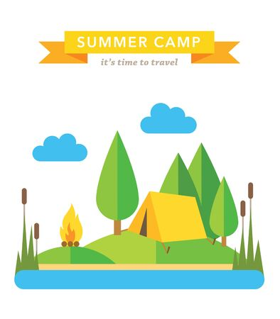 country landscape: Camping flat background Illustration