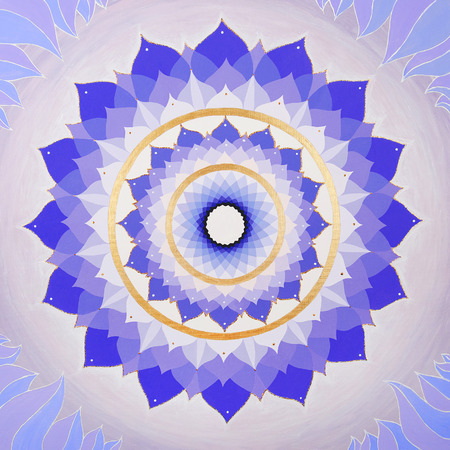 sahasrara: abstract purple painted picture mandala of Sahasrara chakra