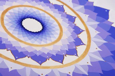chakra awareness: abstract purple painted picture mandala of Sahasrara chakra