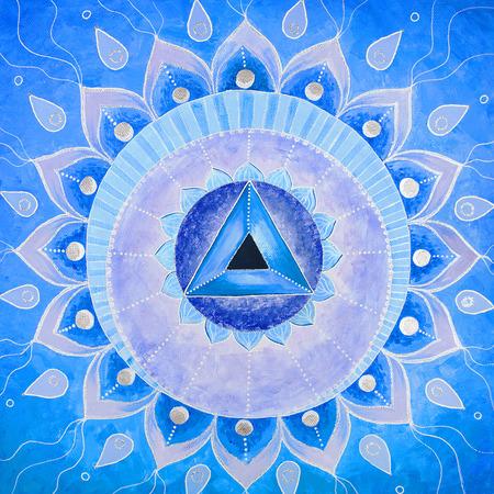 Pintada de azul cuadro abstracto mandala de chakra Vishuddha Foto de archivo - 38633225