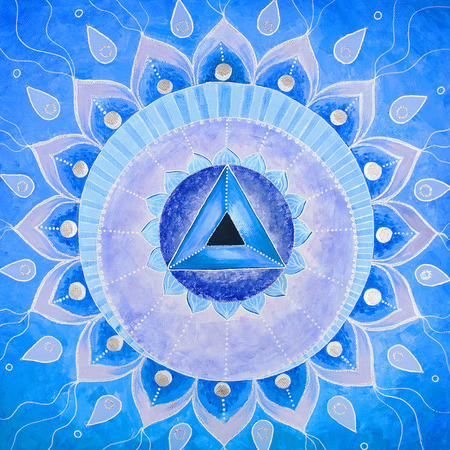 Vishuddha 차크라의 추상 블루 그린 그림 만다라 스톡 콘텐츠