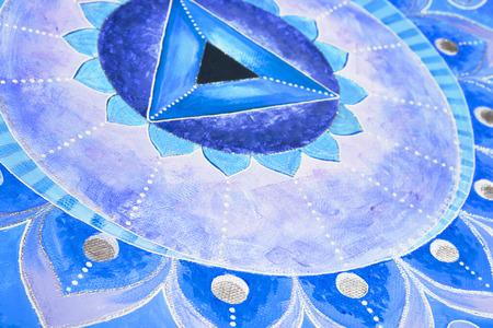 Vishuddha チャクラの抽象的な青い塗られた絵曼荼羅 写真素材