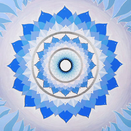 vishuddha: abstract blue mandala of Vishuddha chakra Stock Photo