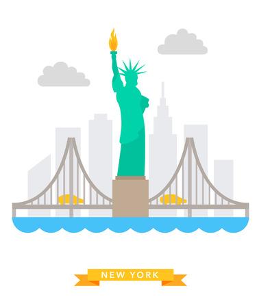 manhattan bridge: New-York flat background vector Illustration