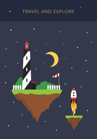 Space islands - travel and explore concept vector Vector