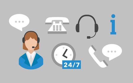 callcenter: Call center icons vector set