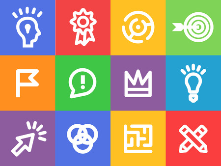 ingenious: creative icons vector set on multicolored background
