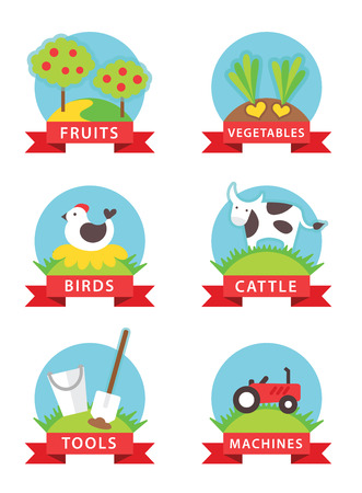 farm and gardening vector icons on white background Vector