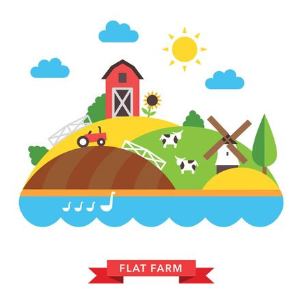 farm tractor: farm countryside vector background on white background