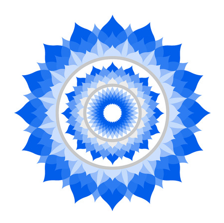 chakra symbols: abstract blue mandala of Vishuddha chakra vector on white Illustration